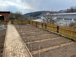 """Wachsende Begeisterung: Der Schulgarten der Holderbergschule mit den neu angelegten Beeten ist jetzt Teil der """"Ackerdemia""""."""