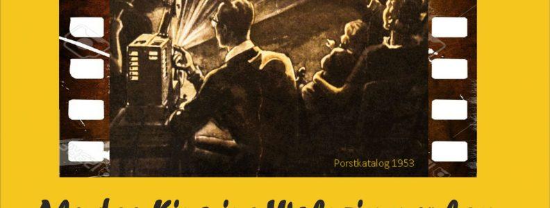 """Plakat der Ausstellung mit dem Titel """"Als das Kino ins Wohnzimmer kam"""""""
