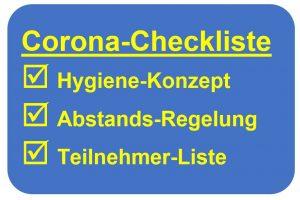 Corona-Checkliste: Hygiene-Konzept, Abstands-Regelung und Teilnehmer-Liste